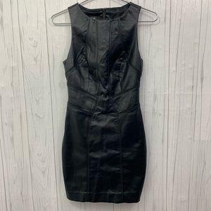 BEBE WOMENS FAUX LEATHER BLACK DRESS SIZE 4